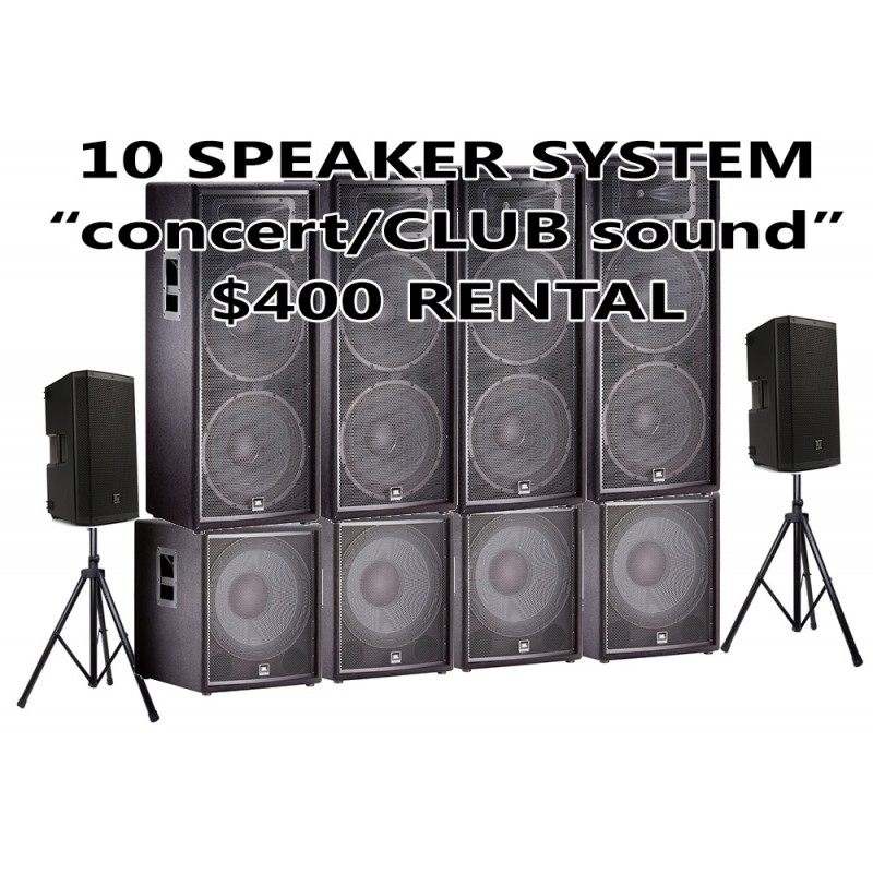 10 SPEAKER PACKAGE JBL WITH 4 SUBWOOFER AND 2 EV 12 HIGHS