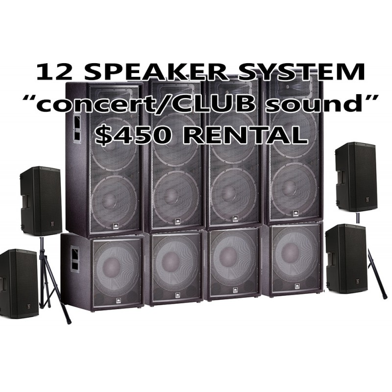 12 SPEAKER PACKAGE JBL WITH 4 SUBWOOFER AND 2 EV 12 HIGHS