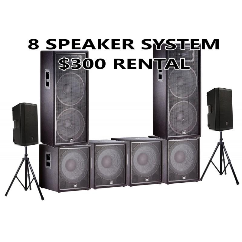 8 SPEAKER PACKAGE JBL WITH 4 SUBWOOFER AND 2 EV 12 HIGHS