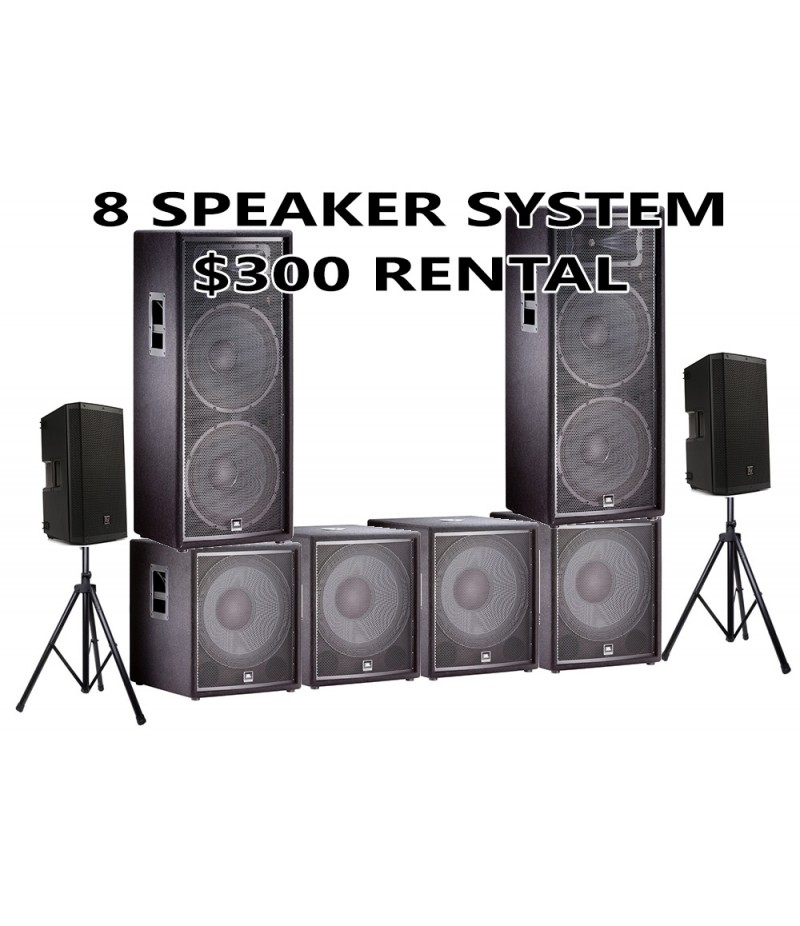 8 SPEAKER PACKAGE JBL WITH 4 SUBWOOFER AND 2 EV 12 HIGHS